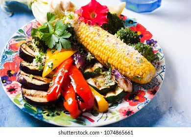 Summer grilled vegetables on a plate