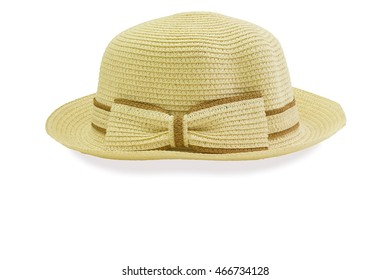 A summer hat brown color stick a bow on front and isolated with clipping path.