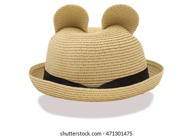A summer hat brown color stick a bow on front and isolated