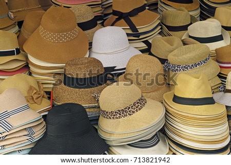 Summer Hats Sale On Market Stock Photo (Edit Now) 713821942 ... 551d71cb6dd