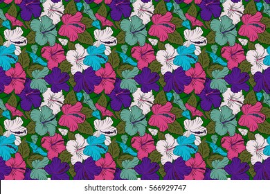 Summer hawaiian seamless pattern with tropical plants and blue, violet and green hibiscus flowers. Seamless Raster illustration.