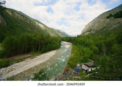 Summer hike in the most beautiful natural places of Buryatia, stop at a mountain river
