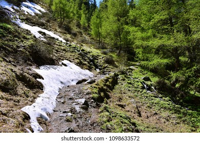 Summer hiking in The Alps with unmelted snow on the path