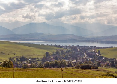 Summer hills landscape and Liptovska Mara lake close to Liptovsky Trnovec village in Slovakia.