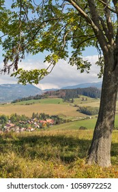 Summer hills rural landscape with Benusovce village close to Liptovsky Trnovec in Slovakia.