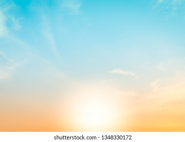 Summer holiday Abstract blurred sun light beach with autumn sunset sky background