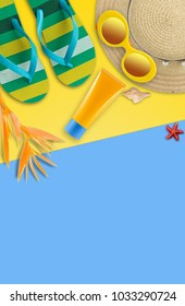 Summer holiday background, Beach accessories, Vacation and travel items. Sunblock, flipflop, Sun glass and Straw hat on yellow and blue background with copy space.