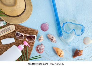 Summer holiday background, Beach accessories on ocean texture, Vacation and travel items