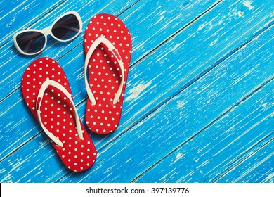 Summer holiday background, Beach accessories on wood floor, Vacation and travel items