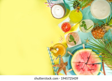 Summer holiday bar and snack concept, picnic background, Fresh watermelon slices with ice cream sticks, various alcohol cocktails and drinks, seashells and summertime accessories, flatlay top view