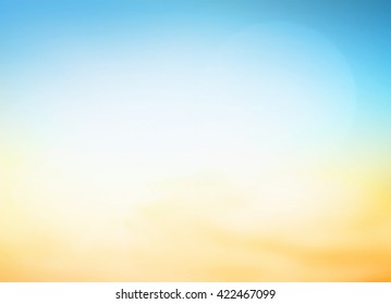 Summer holiday concept: Abstract blur blue, yellow and orange color sky beach sunset background