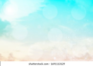 Summer Holiday Concept: Abstract Blurred Light Beach with Autumn Sky Sky Background