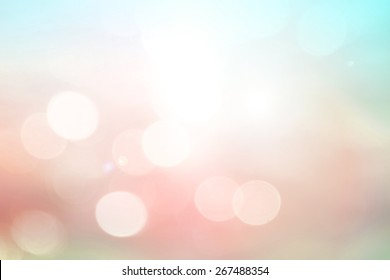 Summer holiday concept: Abstract blurry beautiful beach with circle bokeh light background