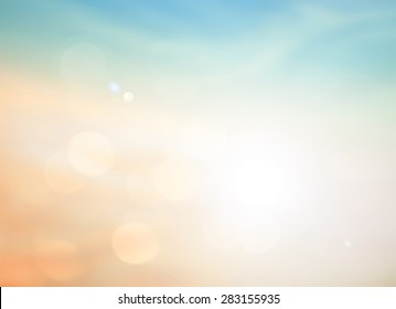 Summer holiday concept: Abstract blurry morning autumn sunrise sky background