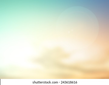 Summer holiday concept: Abstract bokeh flare sunlight with blur green and yellow nature sunrise beach background