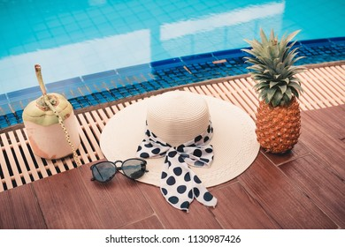 Summer holiday concept, Fashion woman on the poolside.