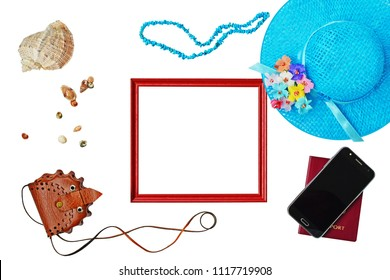 Summer holiday concept, straw hat, passport, smartphone. turquoise chip beads, accessories and travel items over white  background, flat lay, top view