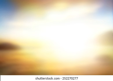 Summer holiday concept: Sun light and abstract blurred yellow beach sunset background