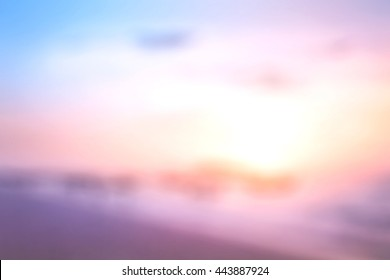 Summer holiday concept: Vintage style, bokeh light with abstract blur beach sunrise background