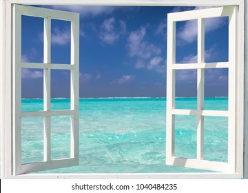 Summer holiday concept: window with view to turquoise waters and blue skies