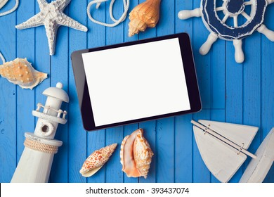 Summer holiday digital tablet mock up template for app presentation. View from above.