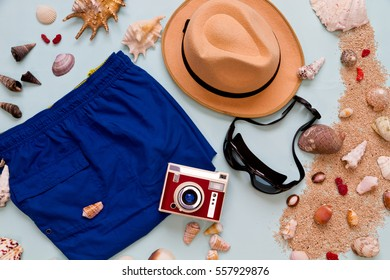 Summer holiday fashion beach on top view photo isolated by blue background
