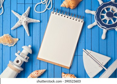 Summer holiday notebook mock up template. View from above. Flat lay
