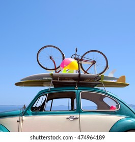 Summer holiday road trip vacation. Travel concept with blue sky for your copy space. No people. Copy space