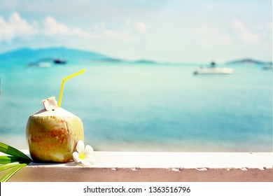 summer holidays background with coconut