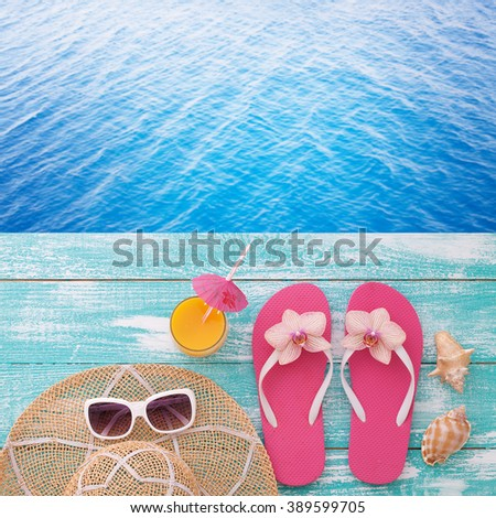 76cc29e1e Summer Holidays Beach Seashore Fashion Accessories Stock Photo (Edit ...