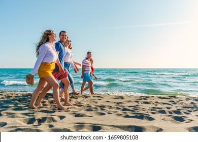 Summer holidays on the beach with friends