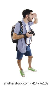 Summer holidays and tourism concept. Handsome man with backpack and camera. Isolated on white background