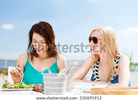 Summer Holidays Vacation Food Concept Girls Stock Photo