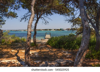 Summer holidays.Ionian coast of Salento:Porto Cesareo (Lecce).- ITALY (Apulia) -In the background Porto Cesareo  town seen from the Big Island (or Isola Grande) Nature Reserve.