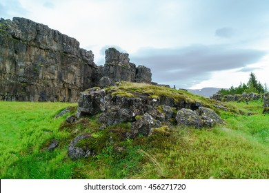 Summer Icelandic Landscape at Thingvellir National Park, Iceland. This picture shows the crest of the Mid-Atlantic Ridge