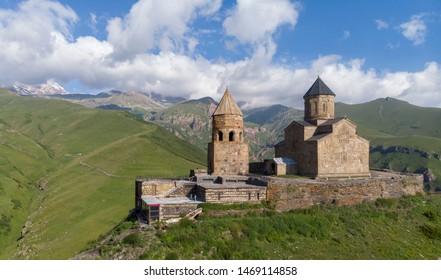 Summer image of gergeti trynity church,caucasus mountains,georgia