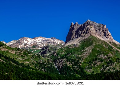 Summer image of Mont Thabor (3178 m) and Le Grand Seru(2889m) located in Etroite Valley in Hautes-Alpes, France.