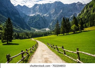 Summer in Jezersko, Slovenia mountain valley mountain road