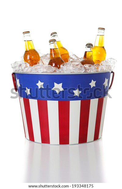 Summer: July 4th Party Bucket Filled with Ice and Beer or Soda