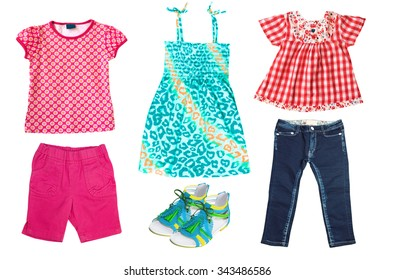 0c7178e6dcd5 Summer kid s clothes isolated on white. Bright child girl apparel set.