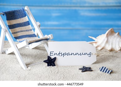 Summer Label With Deck Chair, Entspannung Means Relaxation - Shutterstock ID 446773549