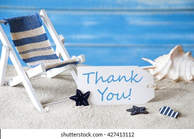 Summer Label With Deck Chair And Text Thank You