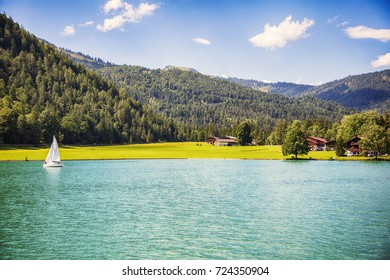 summer lake Achensee, Tyrol, Pertisau village