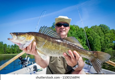 Summer lake fishing trophy - walleye