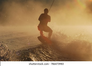 summer lake wakeboarding