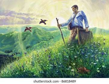 Summer landscape with the artist in the open air and flying quails. Artist en open air. Digital Art.