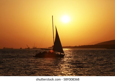 summer landscape beautiful bronze sunset over the sea