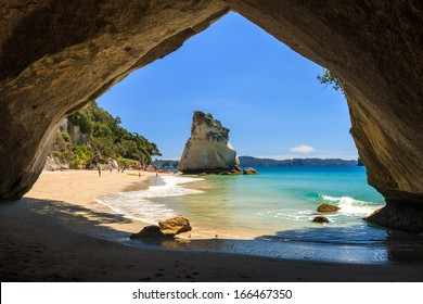 Summer Landscape with Blue Sky on the Pacific Sea Coast, Cathedral Cove, Coromandel Peninsula, North Island, New Zealand