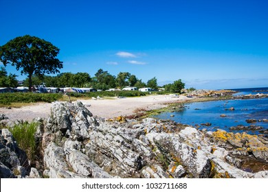 Summer landscape with camping area at Bornholm island, Denmark
