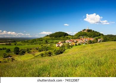 Summer Landscape with Castle Leuchtenburg, Thuringia, Germany